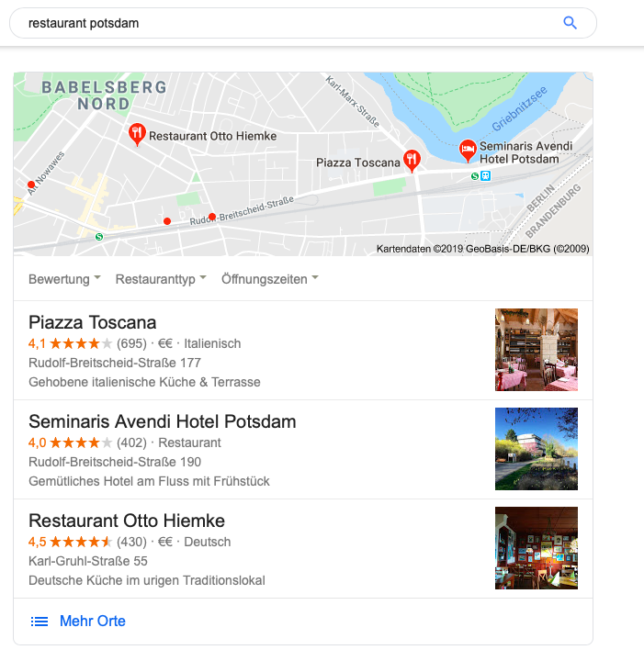 Restaurant My Business Profil