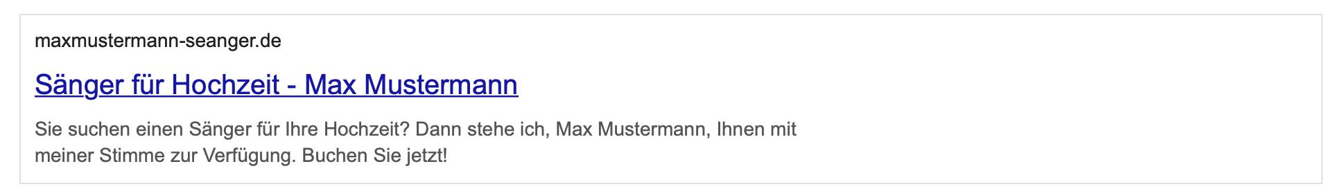 Snippet Max Mustermann - Sänger